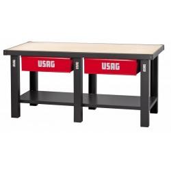 506 A1C/2000Banco de trabajo con mesa de madera 2 cajones