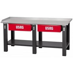 506 A2C/2000- Banco de trabajo con mesa de madera 2 cajones
