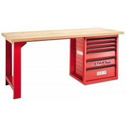 516 SPC1- Banco de trabajo START con mesa de madera 6 cajones