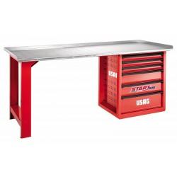 516 SPC2 Banco de trabajo START con mesa de chapa de acero inox 6 cajones
