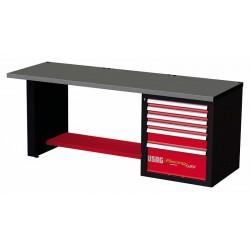 519 RC2- Banco de trabajo Racing con mesa de chapa de acero inox 6 cajones